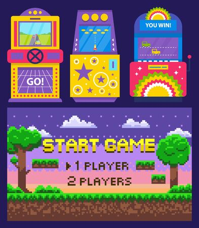 Vintage arcades, colorful retro game machines with car racing and rocket launching. Cartoon pixel art nature scene. Start game on screen, vector illustration. Pixelated video-game. Old school games Illusztráció