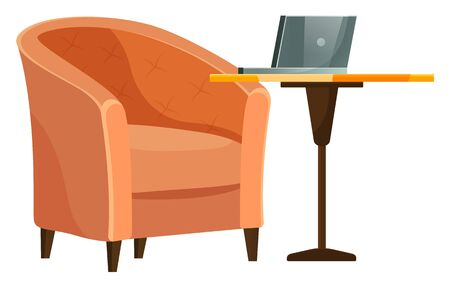 Set of furniture for home or cafe. Armchair with soft brown textile. Lounge chair and dining single leg table with laptop on it. Cozy cafeteria interior for relax and work. Vector illustration Foto de archivo - 138273428