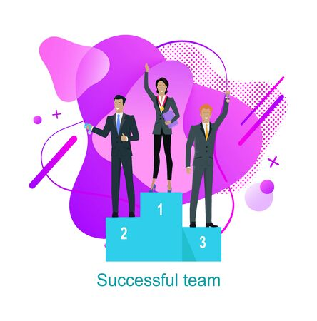 Successful team vector, man and woman standing on pedestal with awards for hard work, male and woman with silver and golden medals on necks flat style Stock fotó - 138340002