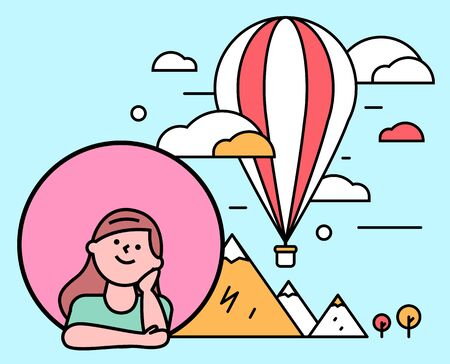 Female character dreaming of traveling around world. Girl and ht air balloon with egyptian pyramids. Kid longing for discoveries and exploration. Vacation or weekends abroad, vector in flat style Çizim