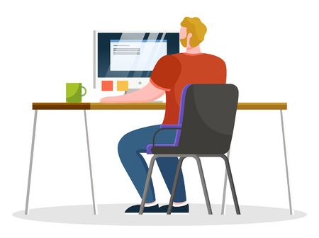 Guy sit by table and work on personal computer at office alone, open space. Man typing on keyboard of laptop. Paper stickers with notes and tasks on monitor. Vector illustration of workplace in flat Banco de Imagens - 138274354