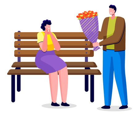 Man give bouquet to woman. People on date, romantic atmosphere of couple. Lady sitting on wooden bench in park and surprised to get flowers. Roses in colorful wrapper. Vector illustration in flat Ilustração