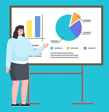 Presentation of female character working on company. Isolated employer pointing on feature points of tasks. Explanation by worker of organization. Meeting or conference, seminar for students vector