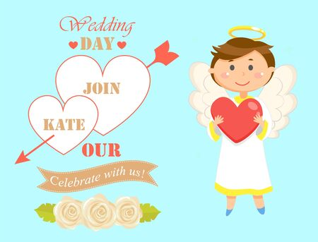 Angel with heart vector, wedding date with names and banners. Angel kid with wings and nimbus, romantic card child with halo, celebration of matrimony Ilustrace