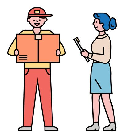 Man works as courier and delivering parcel to receiver. Guy in uniform carry carton box in hands. Transportation to destination and delivery packages. Vector illustration of shipment in flat style