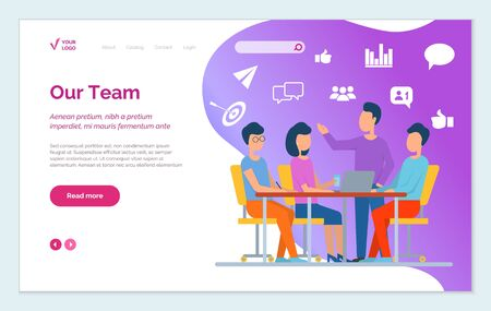 Website of company, page that represents our team. Meeting at office room, people discuss about project and share ideas. Men and women talk with each other, brainstorm. Vector illustration in flat 向量圖像