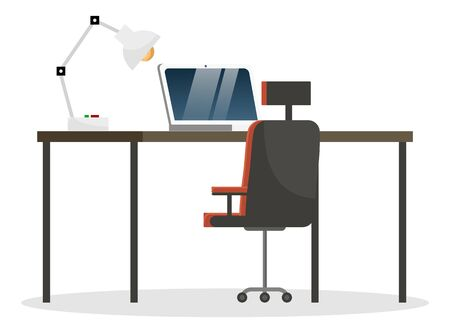 Black table and chair, office furniture. Electronic device like laptop or computer for work. Modern design of workspace for workers. Lamp stand on desk. Vector illustration of workplace in flat style