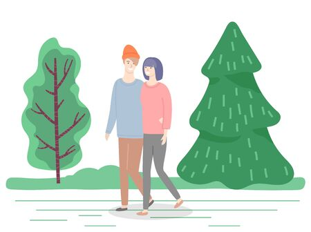 People walking in park in summer, hugging and talking. Man and woman on date in pine forest strolling along greenery. Characters in love spending time outdoors. Pair hugging holding hands vector