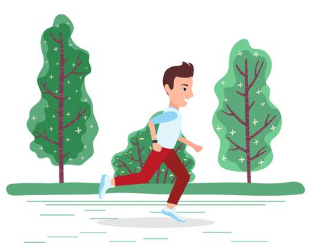 Man character in sportswear running near green trees in park. Summer activity and workout of sporty smiling male going by road outdoor. Fast athletic person making exercise or cardio outside vector