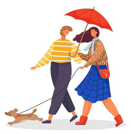 Paare, die mit Haustier gehen, kleiner Welpe im Park. Leute, die sich verabreden, gehen unter Regen. Dame hält Hund an Leine und Regenschirm in den Händen. Mann und Frau in Warnkleidung. Vektorillustration im flachen Stil Vektorgrafik