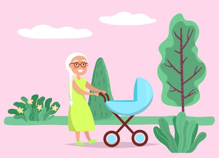 Grandmother walking with newborn in stroller baby carriage in park. Granny leisure with baby in pram standing near trees outdoor in pink color. Happy elderly female with infant leisure vector
