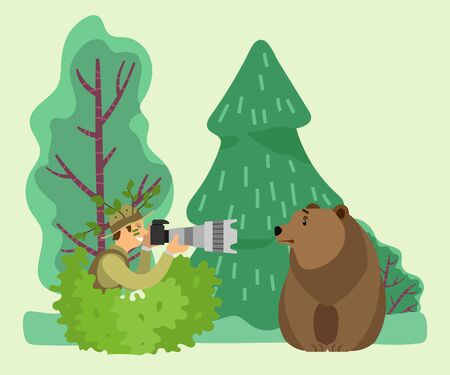 Photographer sitting in shrub with camera in hand in forest. Man shooting, photographing wild animal, brown bear. Wood landscape with spruces and trees on background. Vector illustration in flat style