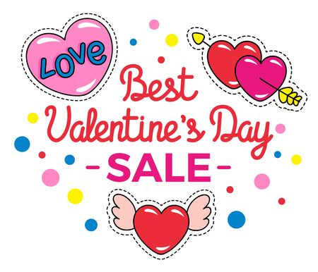 Best valentines day sale, promotional banner for holiday in winter. Heart shaped figures with wings and arrows, bokeh decor and calligraphic inscription. Proposal from shops at market vector