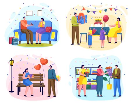 Gift giving tradition on special occasions. People celebrating birthday and anniversary by making gifts. Family celebration of daughters day. Romantic couple exchanging gifts in park. Vector woman day