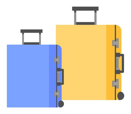 Baggage or luggage to hold goods in it. Bags or containers which holding personal articles while person in trip. Set of two items for travelers, blue and yellow plastic objects. Vector illustration Ilustrace
