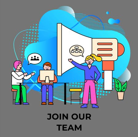 Join our team poster with worker character communication with computer and loudspeaker. Poster of business consulting with teamwork professional brainstorming, developing and announcing vector