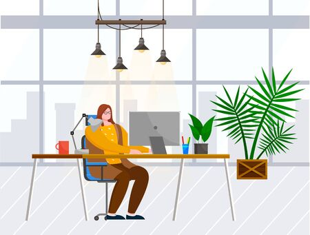 Young woman work on computer alone in cabinet. Lady working as programmer or manager. Room interior with plants and window with cityscape view. Vector illustration of open space office in flat style Banco de Imagens - 138291794