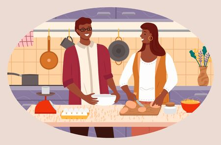 Man and woman cooking dishes at home. Couple preparing food in kitchen. Interior of room with kitchenware and floral decoration. Table with scales, eggs and bowl for meals. Vector in flat style Ilustrace
