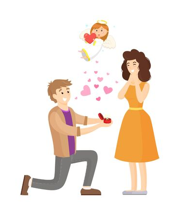 Man standing on knee and making proposition vector, surprised woman, angel above people. Bride and groom happy of engagement, marriage of pair in love Stock Illustratie