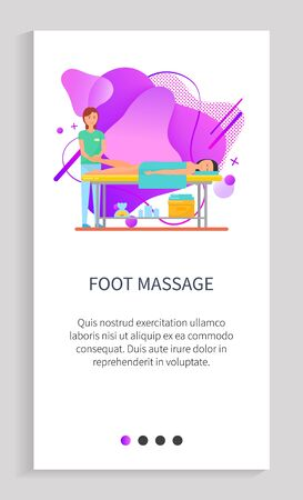 Foot massage vector, client on table and lady therapist working on pain relief, lady masseuse with customer body rubbing and muscles relaxation. Website or app slider template, landing page flat style