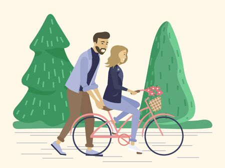 Man and woman on date, romantic weekends for male and female. Father teaches daughter to ride bicycle. Friends spending spare time together. Girlfriend and boyfriend in forest vector in flat Çizim