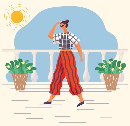 Woman character wearing casual clothes and glasses accessory going at home. Female in t-shirt and trouser going near houseplants outdoor in sunny weather. Trendy view of person clothing vector Ilustrace