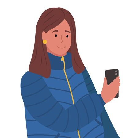 Brunette woman standing and messaging on phone. Person hold smartphone in hand. Lady dressed in warm cloth, blue overcoat. Adult isolated on white background. Vector illustration in flat style