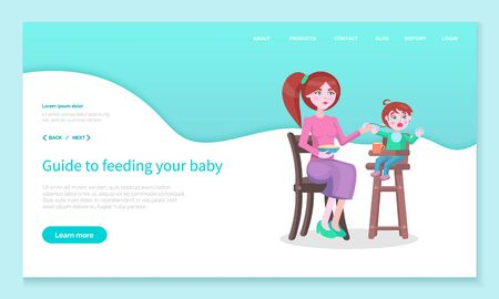 Irritated woman giving food to son denying to eat. Angry mom feeding baby with meals. Mother holding bowl of porridge and cup with tea or juice. Website or webpage template, landing page vector Ilustracja