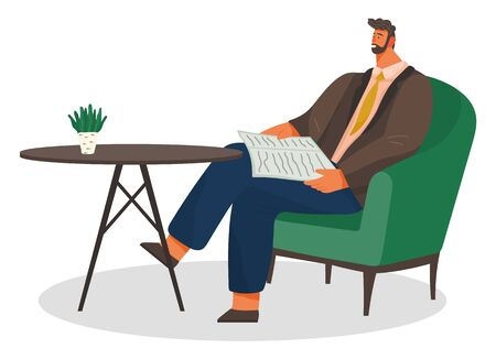 Businessman with newspaper sitting by table waiting for order. Man wearing casual clothes reading in cafe. Empty table with decorative potted plant. Cafeteria or bistro for lunch or drinks vector  イラスト・ベクター素材