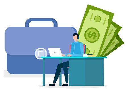 Man work on laptop at office. Worker sit on chair by table alone in room. Big suitcase and money behind person. Guy working with investments in bank. Vector illustration of workplace in flat style Stock Illustratie