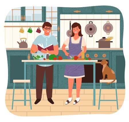 Man and woman making food together. Couple in kitchen, female character cutting carrots and vegetables for salad. Male reading cookbook with recipe. Pet sitting by table, family at home vector