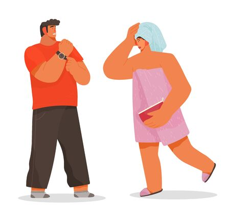 Young woman runs out of bathroom and being late, lateness. Man standing near and hurrying his wife or girlfriend. Lady dressed in pink towel on naked body. Vector illustration of life of young couple