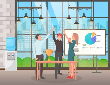 People achieving success at job, characters celebrating successful completion of project. Whiteboard with stats and analysis of working tasks. Workers giving high five with prize on table vector