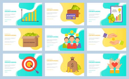 Collection of crowdfunding concept. Money in box, banknotes of American dollar currency. Target and people with coins, Hands with heart. Set of website or webpage template, landing page flat style Stock Illustratie