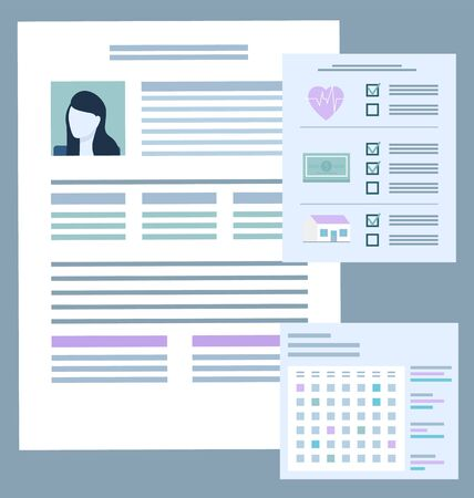 Documentation on female character case. Papers with information of personage, data on health and property insurance. Card of patient or customer of company. Contract and calendar vector in flat