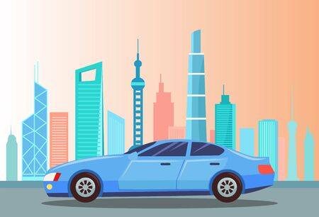 Car riding at street vector, vehicle in city transportation. Blue car in town. Cityscape with high buildings and skyscrapers. Downtown with machine, automobile illustration in flat style