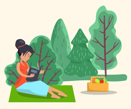 Woman sit on green blanket in forest or wood. Lady spend leisure time reading book. Person on picnic with food in basket. Summer outdoor activity on fresh air. Vector illustration in flat style 向量圖像