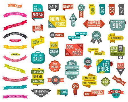 Set aus bunten isolierten Etiketten mit Werbetext. Großer Verkauf mit besten Rabatten und Angeboten. Heiße Preise auf Räumung. Sammlung von Werbe-Tags, Symbolen. Vektorillustration im flachen Stil