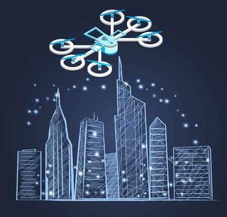 Drone flying over city vector, helicopter with propeller flight above skyscrapers and modern buildings. Sketch of modern town with infrastructure and glowing sparkles. Illustration design for web Ilustração