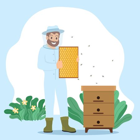 Beekeeper, apiarist keeps bees to collect honey and other products that hive produce. Farmer unload honeycomb in wooden frame. Man work on apiary in uniform. Vector illustration of beekeeping in flat Ilustração