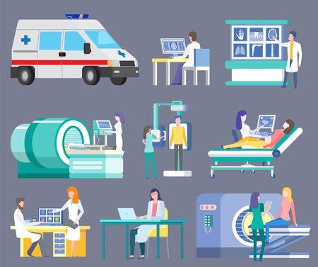 Vector de hospital y clínicas, ambulancia aislada y médicos en laboratorio. Documento de trabajo, tomografía computarizada ct y escaneo de pacientes.