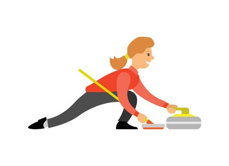 Curling famous English sport, woman with curling-broom pushing granite stone on ice, isolated cartoon character playing winter game. Vector female curler