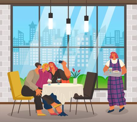 Waiter carrying order to table with female friends taking selfie. People spending weekends together. Lady with camera sitting in coffeehouse with modern interior. Wide window with cityscape vector