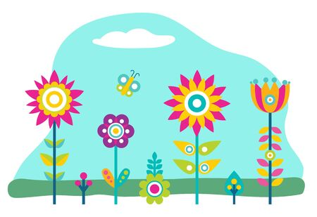 Plants growth in garden or field. Flowers that grown indoor in potting soil. Colorful vegetation with leaves. Countryside or ranch nature with bloom plant. Vector illustration of blossom in flat style