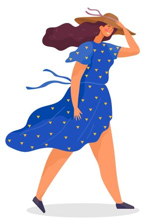 Young woman walking alone or posing for photo. Lady hold her hat on head. Person dressed in seasonal cloth like blue dotted dress. Windy summer or spring weather. Vector illustration in flat style