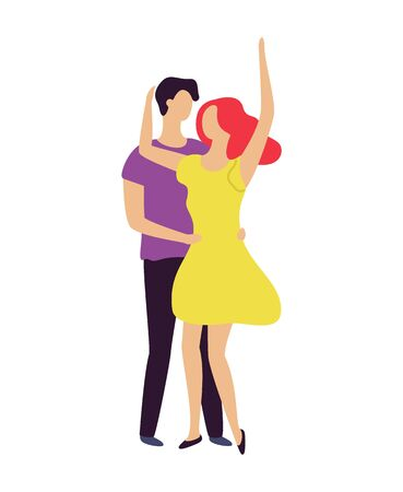 Couple of man and woman dancing together, people moving in pair, boy holding girl by waist, female with rising hands, characters on dance floor vector