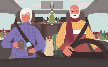 Grandmother and grandfather in car driving in search of adventures. Senior people in vehicle with cat, man and woman on winter vacations. Lady pouring hot tea from thermos. Traveling couple vector