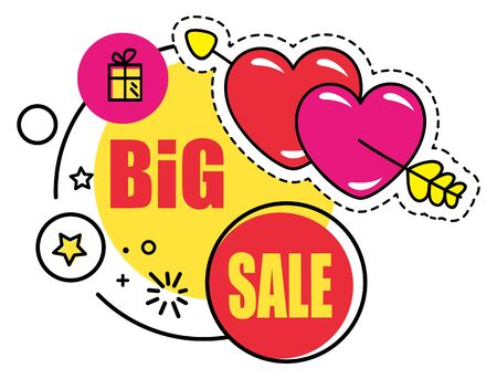 Sal or discount for holidays, isolated promotional banner with hearts and presents. Sellout or clearance announcement of shop or store. Market proposal with decorative stars vector in flat style