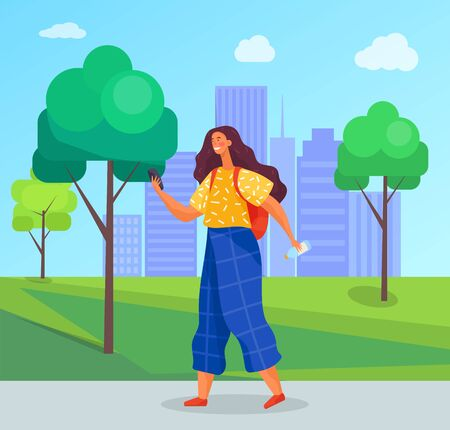 Teenager spend leisure time on summer holidays in urban park. Girl hold phone in hand and messaging to somebody. Landscape with greenery and silhouette of city buildings. Vector illustration in flat