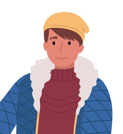Teenager wearing winter clothes and smiling. Isolated character in knitted hat and sweater with warm jacket. Cute personage looking aside. Male character with furry coat standing outdoors vector